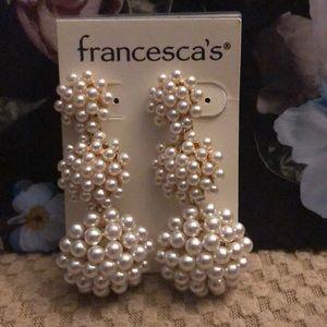 Pearl statement drop earrings